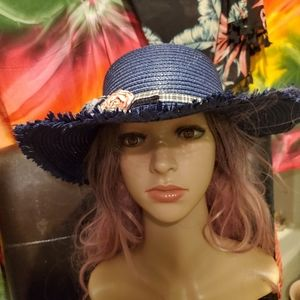 Blue floral fall hat byminky! Still stay sun savy
